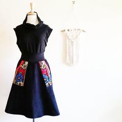 Corduroy Black Winter Skirt Aline Corduroy Pockets Black Red Skirt Corduroy