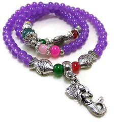 Bohemian Purple Wrap Bracelet with Mermaid and  Fish Charms