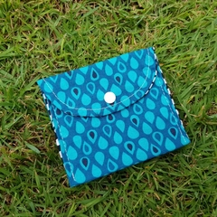 Coin purse, wallet in dark blue raindrop print