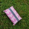 Tissue holder pink heart pattern quilting cotton fabric