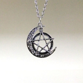 Silver Crescent Moon and Pentagram Necklace