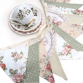 Vintage Bunting - Country Roses & Doily Lace Floral. Party, Wedding decoration.