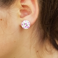 Vintage style pink rose button earrings