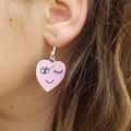 Groovy wooden heart earrings in pink