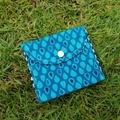 Coin purse, wallet in dark blue raindrop print