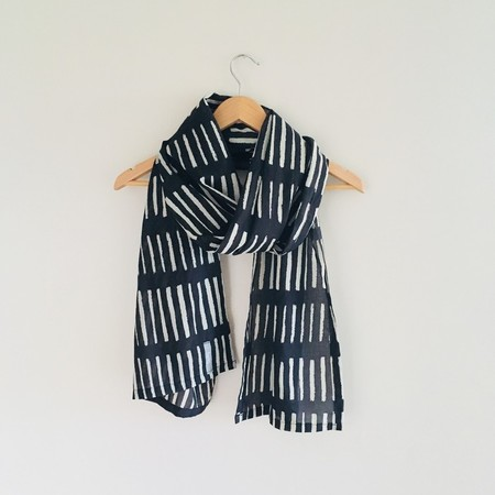 Navy / Ivory Graphic Scarf - READY TO POST