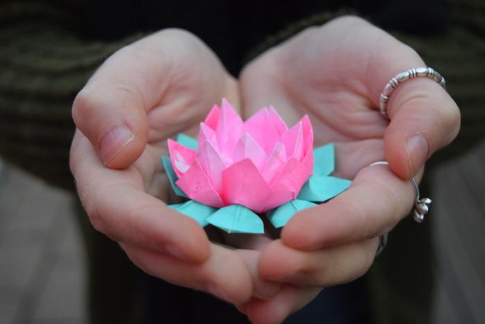 Origami Lotus, handmade, colourful, miniature, paper flower origami ...