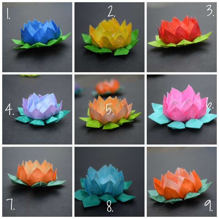 Origami lotus handmade colourful miniature paper flower origami mightylinksfo