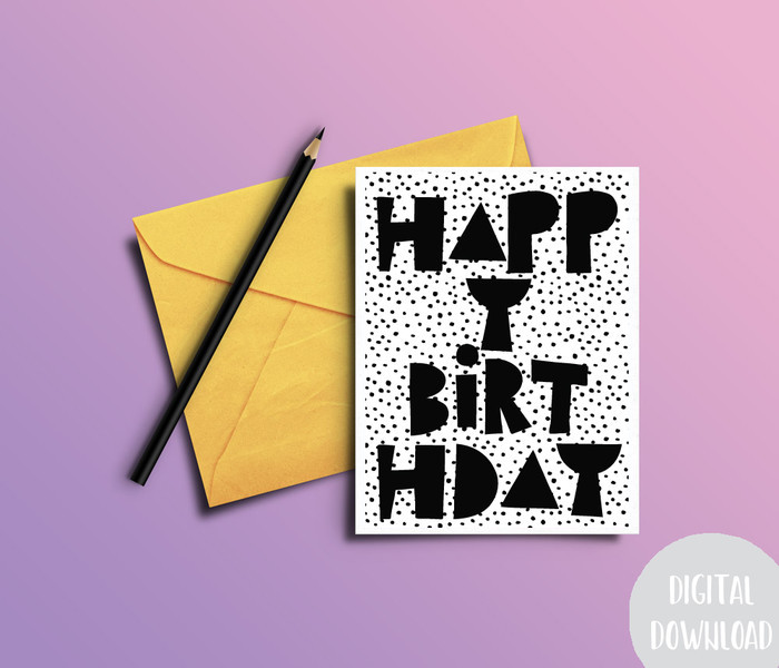 Birthday Card Download | Printable Birthday Card | Happy