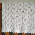Cotton LACE Baby Blanket, hand knitted, light weight, 80 x 80 cm