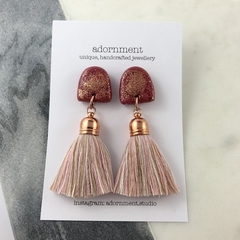 Polymer clay tassel earrings with glitter- pink rose gold glitter