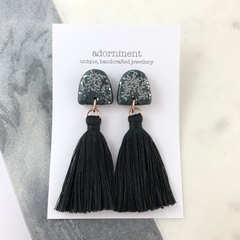 Polymer clay tassel earrings with glitter- black