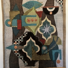 Fabric modernist wall hanging-Gabbeh