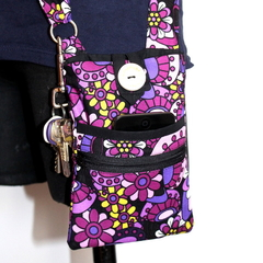 Small Cross Shoulder Bag in Purple Floral Fabric