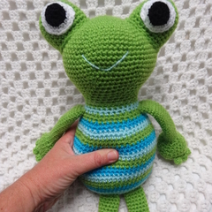 Frog, READY TO POST, Crochet Toy, Toddler Boy Gift, Baby Gift