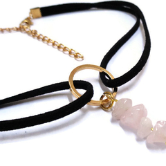 Rose Quartz Gold O Ring Choker