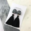 Polymer clay tassel earrings with glitter- black