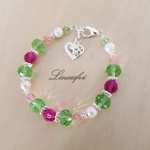 Bracelet - Crystal - Colorful - Green - Fuchsia - Rose - Pearl - Silver - B069