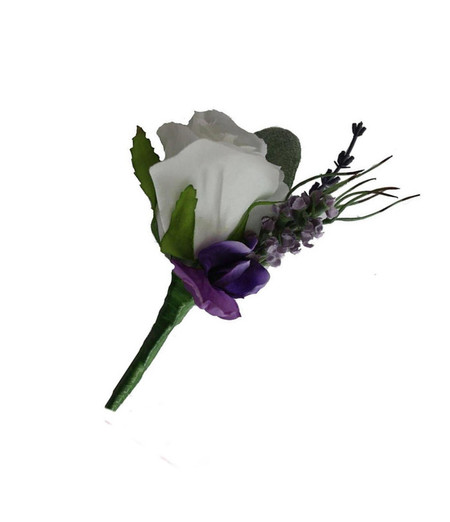 Buttonhole - White Rose, Lavender, Buttonhole for Groom, Groomsman, Father