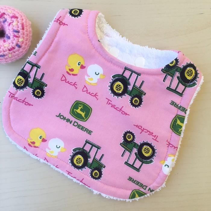 4c33dc44f Pink John Deere Bib Baby Shower Newborn Baby Gift Sunflower Handmade Madeit  Au