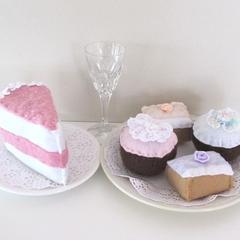 Play Food, High Tea Set, Felt Pretend Food, Felt Cakes