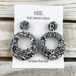 Handcrafted polymer clay hoop dangle earrings in monochrome  mosaic