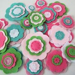 Felt Flowers, Green and Pink Flowers, Card Making or Sewing Embellishments