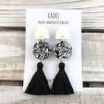 Handcrafted polymer clay tassel dangle earrings in monochrome  mosaic