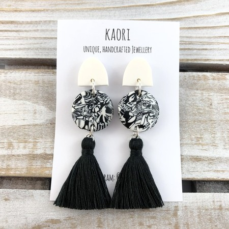 Handcrafted polymer clay tassel dangle earrings in monochrome  mosaic