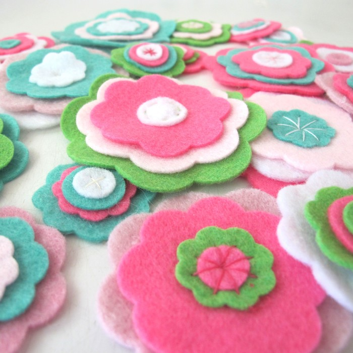 felt flowers green and pink flowers card making or