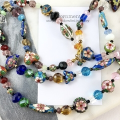 Cloisonne enamelled beads and crystal long necklace