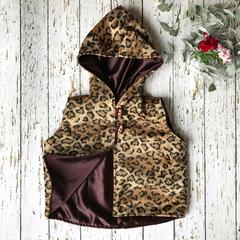 Girls faux fur vest - leopard print with satin lining size 3