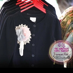 Girls Black Winter Rosette Cardigan Sizes 1, 5 & 7