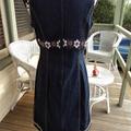 Womens Vintage  Retro Boho   Upcycled Size 14  Denim & Doillie Lace Dress