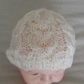 Pure wool, hand knitted Newborn / Preemie baby beanie, cream or red hat.