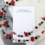 Red coral, black onyx, freshwater pearl and crystal long necklace