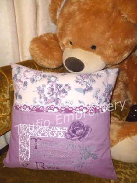 """Purple Rose"" Reading/Pocket Cushion Cover"