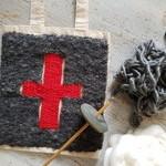 woven bag - red swiss cross