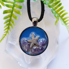 Star Fish and Amethyst - 3D Art Pendant