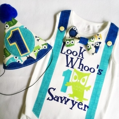 Whoos 1 Personalized Birthday Onesie & Party Hat Boys 1st Birthday