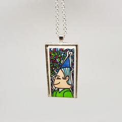 Headline Series : Liam Original Ink on Paper on Tile Necklace