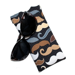 Padded Sunglasses Pouch in Moustache Fabric