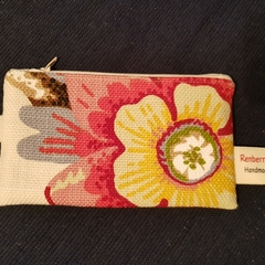 red floral zippered pouch