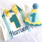 Rubber Ducky Blue & Yellow Boys Birthday Onesie & Party Hat Boys 1st Birthday