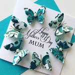 Happy Mother's Day MUM aqua teal gold floral design with butterfly circle card