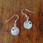 Handcrafted 99.9% Recycled Silver Dandelion and Sapphire Earrings