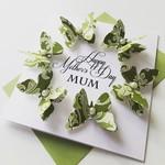Moss Green butterflies Happy Mother's Day MUM floral design butterfly card