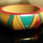 Handpainted geometric wooden bangle