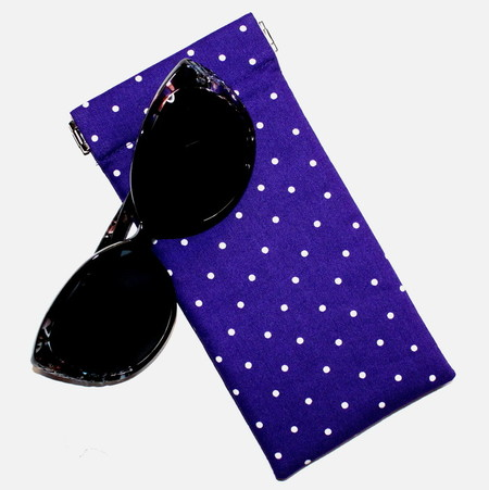 Padded Sunglasses Pouch in Purple and White Polkadot Fabric
