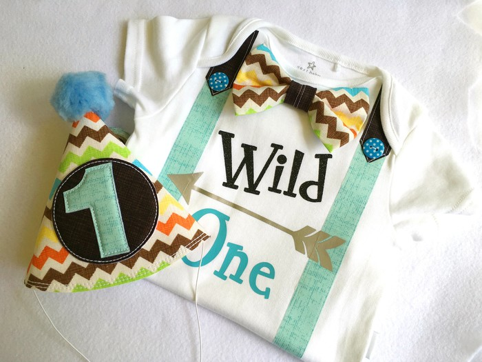 Wild One Boys Birthday Onesie Party Hat 1st